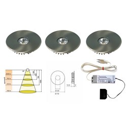 LED Einbauleuchten-Set Super Light 12 V 3er-Set